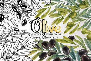 Graphic and watercolor olive plants