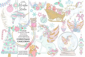CHRISTMAS UNICORNS clipart