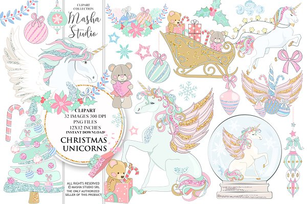 CHRISTMAS UNICORNS clipart