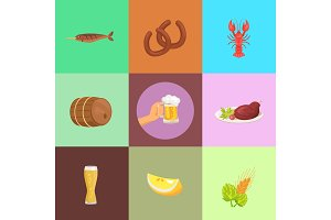 Set of Food and Beer Types Vector Illustration