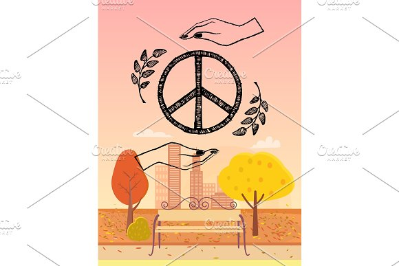 Hippie Logo Protected by Hands Vector Illustration