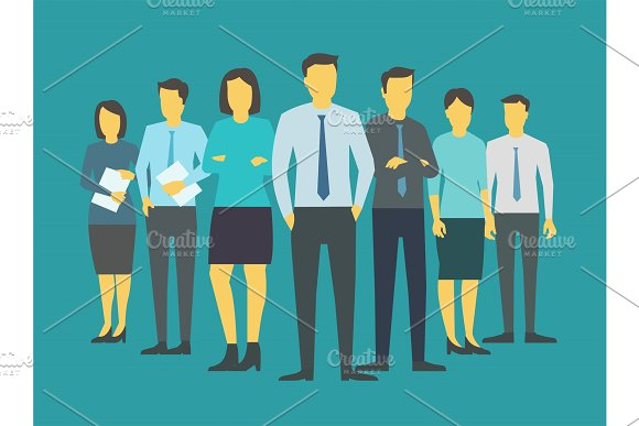 Leader boss director team company business group people stand of office top-brass. Blue background. Training finance stock illustration vector