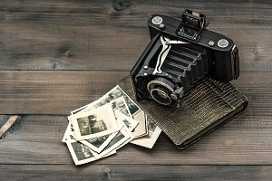 Vintage camera and photo album