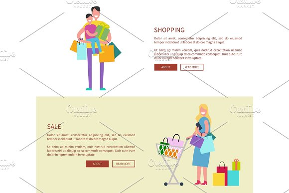 People with Shopping Bags Vector Illustration