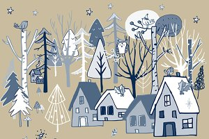 Christmas Set Wood Clipart - 103 PNG