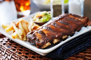 bbq ribs with cole slaw and french