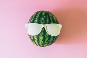 watermelon with white sunglasses
