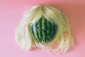 watermelon with a blonde wig