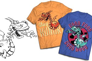 Dino T-shirts And Poster Labels