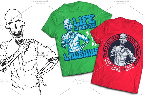 Laugh T-shirts And Poster Labels in Illustrations