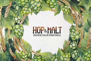 Watercolor hop and malt