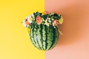 watermelon and a floral wreath