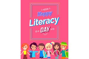 Happy Literacy Day Colorful Bright Postcard