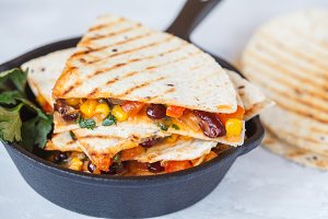 Vegetarian quesadilla with vegetable