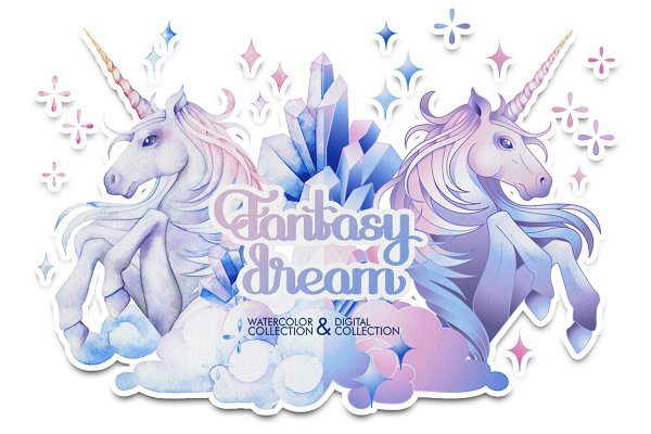 Watercolor unicorn and crystals