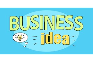 Business Idea Title on Vector Illustration Blue