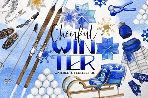 Watercolor winter colletion