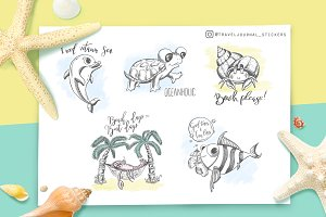 Sea creatures* Funny stickers*