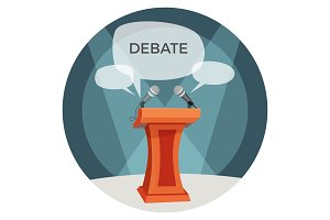 Debate poster with microphones and opinions on vector illustration