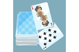 Deck of cards with two items on vector illustration