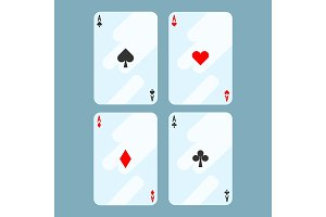 Deck of cards all aces on vector illustration