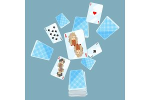 Deck of cards messed up on vector illustration