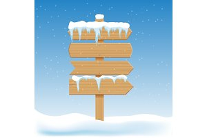 Blank wooden signs with snow. Billboard banner, signboard directional, pointing guidepost. Christmas winter holidays vector elements.