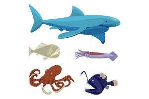 Deep sea dangerous unusual creatures isolated illustrations set