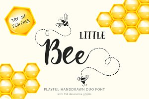 Little Bee. Duo font & logos.