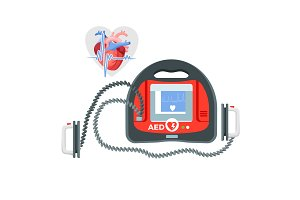 Modern portable defibrillator with small screen and heart illustration
