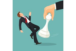 Pawn chess piece of smallest size and value beating businessman