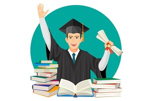 Highschool graduate with diploma in hands and piles of textbooks