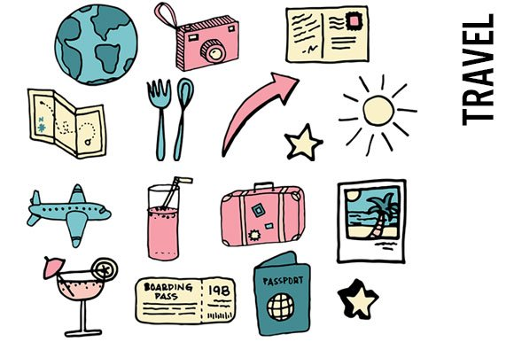 Travel Doodle Clipart Illustrations Creative Market