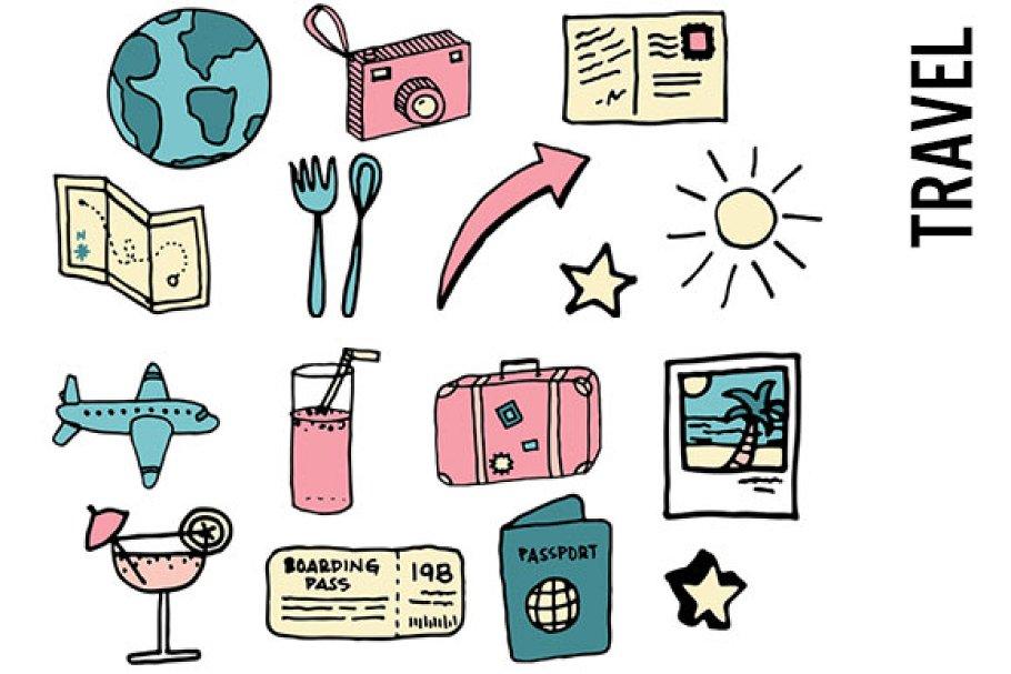 ff810b66f1aa Travel Doodle Clipart ~ Illustrations ~ Creative Market