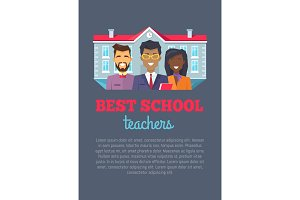 Best School Teachers with Text Vector Illustration