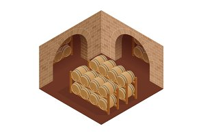 Wine barrels stacked in the old cellar of the winery. Isometric vector illustration