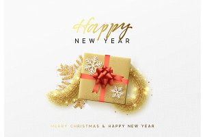 Merry Christmas greeting card. Xmas holiday background, gift box with gold tinsel and bright golden snowflake