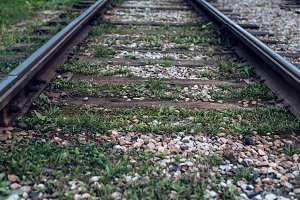 Old tram rails, close-up, summer autumn, between sleepers grass, gravel and stones in the city.