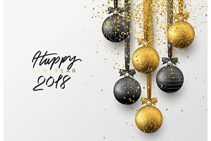 Happy new year 2018. Christmas greeting card, design of xmas balls with golden glitter confetti