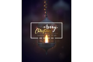 Christmas background, vintage dark blue lantern with a burning realistic fire