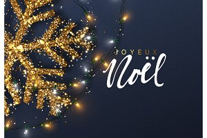 Christmas background with Shining gold Snowflakes. French text Joyeux Noel