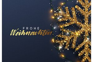 Christmas background with Shining gold Snowflakes. German text Frohe Weihnachten