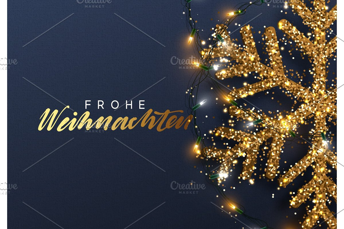 Frohe Weihnachten Gold.Christmas Background With Shining Gold Snowflakes German Text Frohe Weihnachten