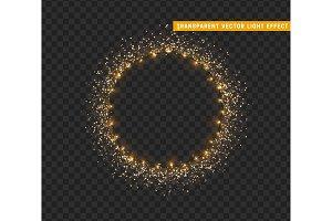 Gold shiny round frame on transparent background. Sparkle golden garlands.
