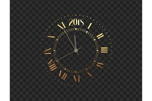 2018 New Year gold clock, five minutes to midnight. Merry Christmas