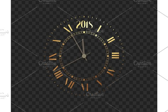 2018 New Year Gold Clock Five Minutes To Midnight Merry Christmas