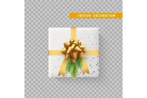 Gift box with bow and ribbon isolated on transparent background. Flat top view