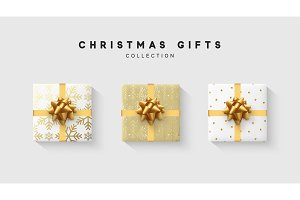 Christmas collection of gift box with bow and ribbon, is packed in funny foil pattern winter