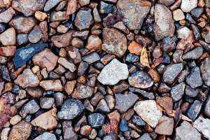 Wet stones in the park on the road, paving stones. In the city by the wayside. Autumn day colorful boulders.