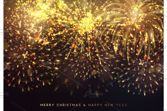 happy new year and merry christmas background with shiny golden fireworks graphics
